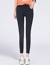 sinal de moda primavera novo jeans femininos pés-calça calças calças lápis femininos orifício de trepanação elástica