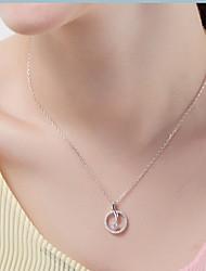 Pendentif de collier Cristal Forme Ronde Forme d'Animal Dauphin Argent sterling Zircon Basique Pendant Simple Style Argent Bijoux Pour