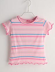 Baby T-Shirt,Lässig/Alltäglich Gestreift-Baumwolle-Sommer-Rosa