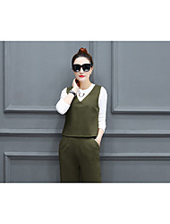 2017 spring new Women Korean temperament was thin ladies fashion vest three-piece wide leg pants suit tide