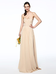 2017 Lanting Bride® Floor-length Chiffon Elegant Bridesmaid Dress - A-line Strapless with Pleats