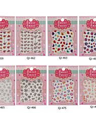 8PCS Flowers A Series of Water Transfer Printing Nail Stick