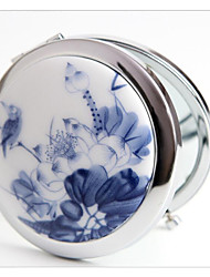 Wedding Gifts Blue And White Porcelain Ceramic Metal Cosmetic Mirror