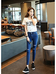 Black hole jeans female thin section pantyhose elastic waist pants feet Slim pencil pants Spring
