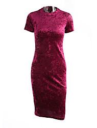 Feminino Bainha Vestido, Casual Simples Fofo Sólido Colarinho Chinês Altura dos Joelhos Manga Longa Vermelho Pêlo SintéticoPrimavera