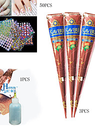 3 BLACK HENNA CONES  APPLICATOR Temporary Tattoo Body ART INK HINA KIT Mehandi50 Mixs Floral Design 3D Nail Art Stickers