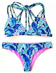 Bikinis Aux femmes Fleur Licou Nylon Spandex