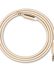 3,5 mm para 3,5 mm de cabo mini carro aux audio tipo redondo estendido cabo auxiliar de áudio para caixinha de som mp3 / mp4 fone de