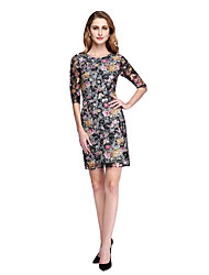 LAN TING BRIDE Sheath / Column Mother of the Bride Dress - Floral Short / Mini Half Sleeve Lace with Lace