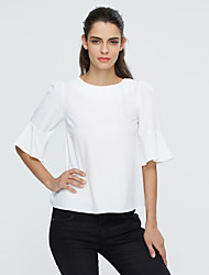 Women's Ruffle/Flare Sleeve Casual Micro-elastic ½ Length Sleeve Regular Blouse (Cotton)