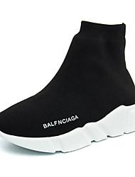 Sneakers-Tempo libero Casual-Comoda Suole leggere pattini delle coppie-Piatto-Tessuto-Nero