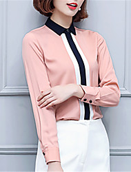Women's Going out Casual/Daily Work Street chic Spring Shirt,Striped Peter Pan Collar Long Sleeve Polyester Medium