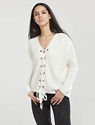 Уличный стиль Обычный Пуловер Однотонный,Белый V-образный вырез Длинный рукав Полиэстер Зима Тонкая Слабоэластичная