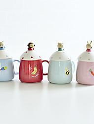 Cartoon Drinkware, 350 ml Portable Ceramic Coffee Milk Coffee Mug Travel Mugs