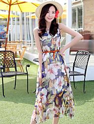 Zeichen Sommer ärmel langen Abschnitt der großen Druckband Seidenkleid auf einem großen Gürtel separat verkauft setzen