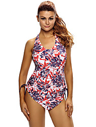 Women's Reddish Leaf Print Halter Tankini Swim Top