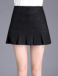 Plus Size Trumpet/Mermaid Solid Lace Pleated Jacquard Skirts,Going out Casual/Daily Sexy Cute High Rise Above Knee Zipper Others