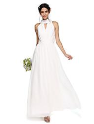 A-Line High Neck Floor Length Chiffon Bridesmaid Dress with Draping Sash / Ribbon by LAN TING BRIDE®