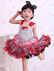 Children's Ballet Dance Dress Performance Polyester Splicing 1 Pieces Sleeveless Dress Red Kid's Dancewear