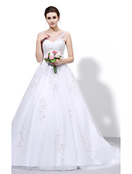Ball Gown Wedding Dress - Chic & Modern Vintage Inspired Sweep / Brush Train Scoop Lace Tulle with Appliques Beading