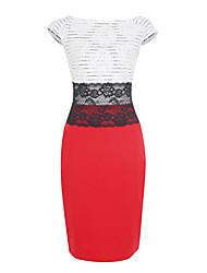Moulante Robe Femme Grandes Tailles Soirée / Cocktail Vintage,Couleur Pleine Col Arrondi Mi-long Sans Manches Rouge Noir Polyester Eté