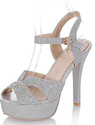 Sandals Summer Club Shoes Glitter Customized Materials Party & Evening Dress Stiletto Heel Sequin Buckle Silver Gold