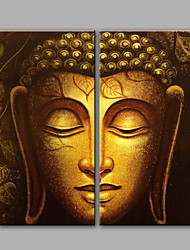 Hand-Painted Abstract Portrait The Golden Buddha Modern Classic Two Panels Canvas Oil Painting For Home Decoration