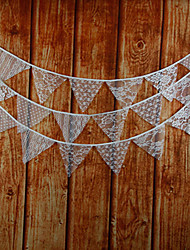 3.4m 12 Flags White Flower Banner Pennant Lace Bunting Banner Booth Props Photobooth Birthday Wedding Party Decoration