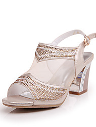 Sandals Spring Summer Fall Gladiator Leatherette Casual Chunky Heel Buckle Silver Gold