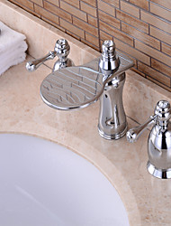 Contemporary Widespread Waterfall with  Brass Valve Three Handles Three Holes for  Chrome , Bathroom Sink Faucet