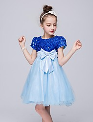 Ball Gown Knee-length Flower Girl Dress - Organza Short Sleeve Jewel with Bow(s) Sequins
