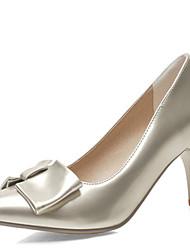 Women's Heels Spring Summer Fall Winter Club Shoes Comfort Patent Leather Wedding Office & Career Dress Stiletto Heel BowknotBlack Blue