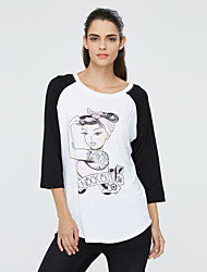 Women's Plus Size / Going out / Casual/Daily Cute / Street chic Color Block Loose Spring / Fall T-shirtPrint Round Neck  Sleeve