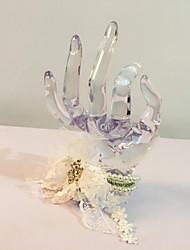 Fleurs de mariage Rond Petit bouquet de fleurs au poignet Mariage La Fête / soirée Dentelle Fleur séchée Strass Env.21cm