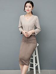 signer la station europe 2017 printemps nouvelle robe à manches mince mince mode coréenne tempérament creux femme