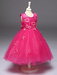 Ball Gown Knee-length Flower Girl Dress - Organza Jewel with Appliques