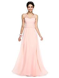 LAN TING BRIDE Floor-length V-neck Bridesmaid Dress - Open Back Elegant Sleeveless Georgette
