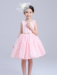 Ball Gown Knee-length Flower Girl Dress - Cotton Lace Sleeveless Jewel with Bow(s) Sash / Ribbon
