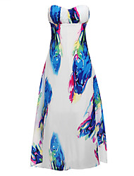 Women's Sexy / Party / Cocktail Floral Flapper Dress , Strapless Maxi Rayon