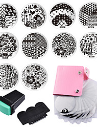 10 Nail Plates 1 Stamper  1 Scraper  Storage Bag Nail Art Image Stamp Stamping Plates Manicure Template Nail Art Tools