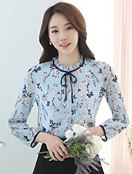 Women's Going out Casual/Daily Cute Street chic Blouse,Floral Crew Neck Long Sleeve Blue Polyester