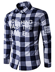 Men's Plus Size Casual/Daily Sports Simple All Seasons Shirt,Print Color Block Houndstooth Shirt Collar Long Sleeve Blue Red Cotton Rayon