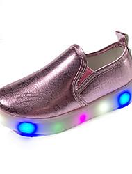 Mädchen-Loafers & Slip-Ons-Outddor Lässig Sportlich-Leder-Niedriger Absatz-Light Up Schuhe Mokassin-Schwarz Rosa Silber Gold