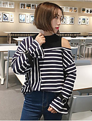 Sign strapless stripes spell color loose long-sleeved t-shirt fake two bottoming shirt