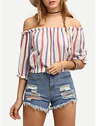 Damen Gestreift Einfach Ausgehen T-shirt,Rundhalsausschnitt Frühling Sommer Kurzarm Baumwolle