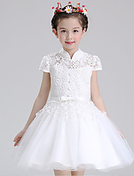 Ball Gown Short / Mini Flower Girl Dress - Cotton Lace Tulle Short Sleeve High Neck with Bow(s) Buttons Sash / Ribbon