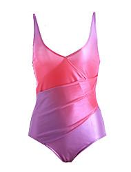 Women's Bandeau One-piece,Color Block Polyester Purple / Blue