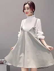 sinal 2017 modelos primavera senhoras cinta vestido de colocar em um grande vestido de cor sólida
