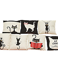 Set of 7 Black and white cat pattern Linen  Cushion Cover Home Office Sofa Square  Pillow Case Decorative Cushion Covers Pillowcases