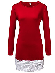 HOTS-3XL Plus SizeWomen's Casual/Daily Simple Loose DressSolid Round Neck Above Knee Long Sleeve Cotton Blue Spring Summer Mid Rise Micro-elastic